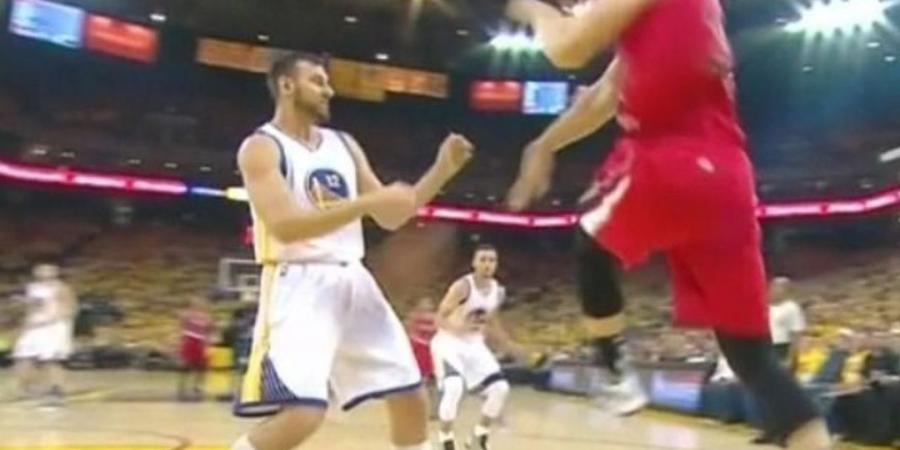 Warriors' Bogut takes a saved ball off a tender area
